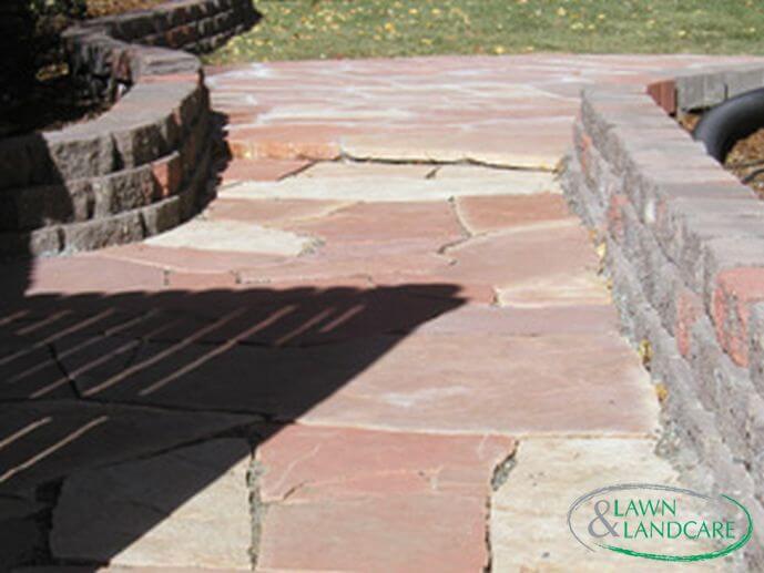 custom stone floor outside the house