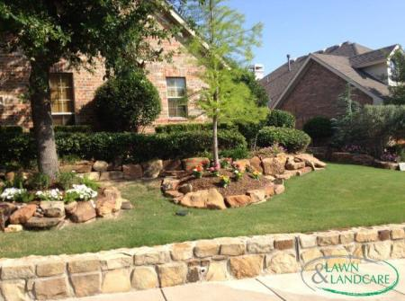 hardscaping and landscaping in front of the house