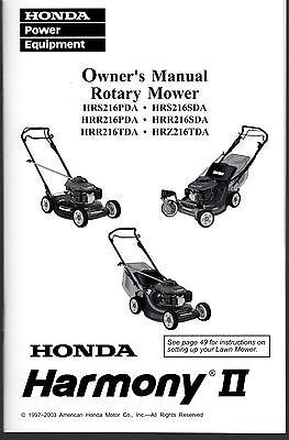 1997-2003 HONDA ROTARY LAWNMOWER OWNERS MANUAL NEW