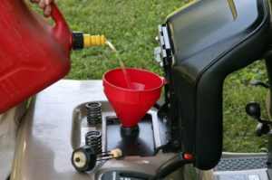 Filling Lawn Mower With Fuel