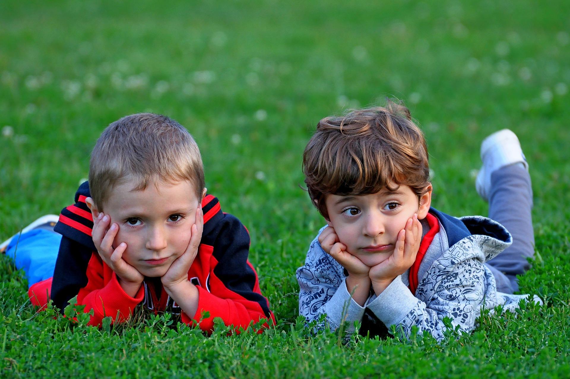 happy kids in grass