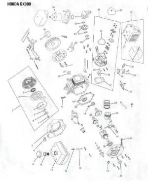 Honda GX390 Engine Parts Diagram | Lawnmower Pros