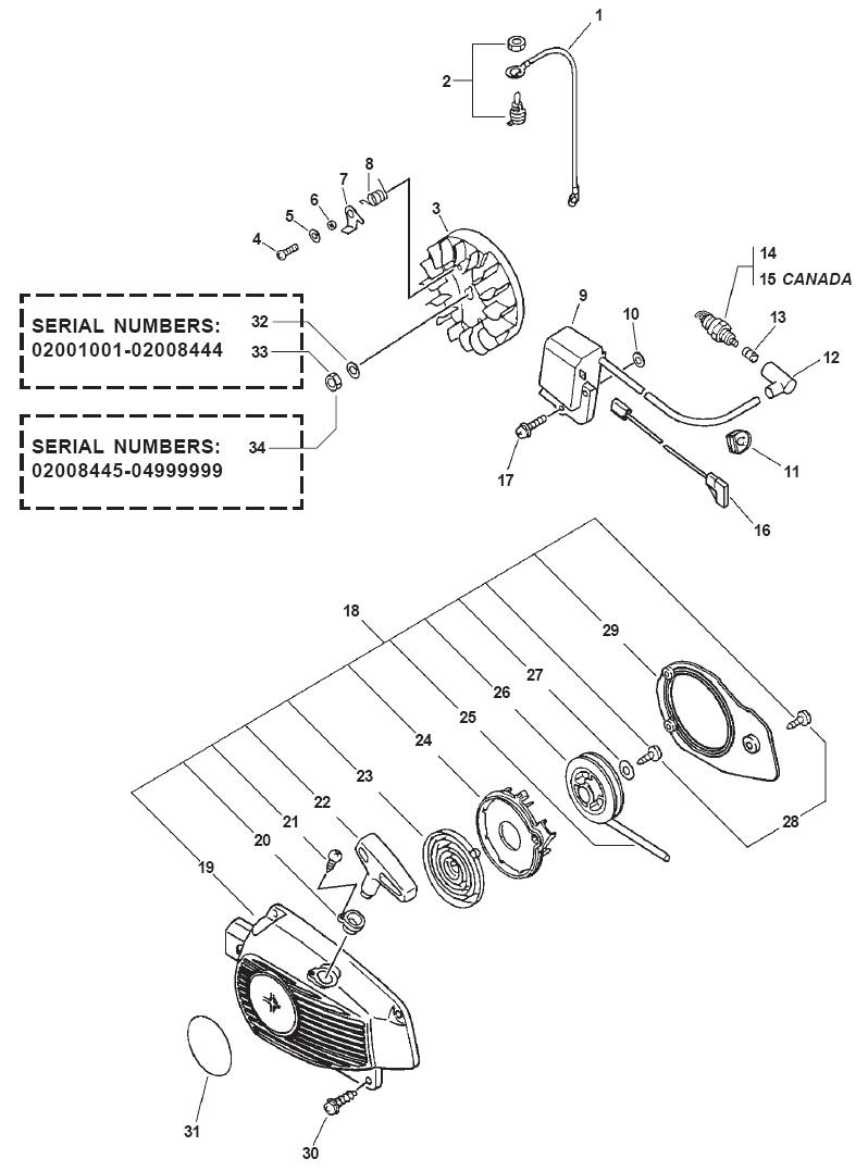 ECHO CS-301 Chainsaw Parts Diagram Serial Number 04001001