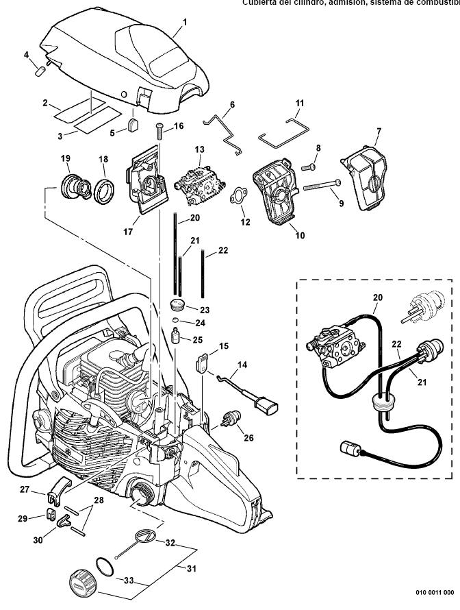 ECHO CS-310 Chainsaw Parts Diagram Serial Number