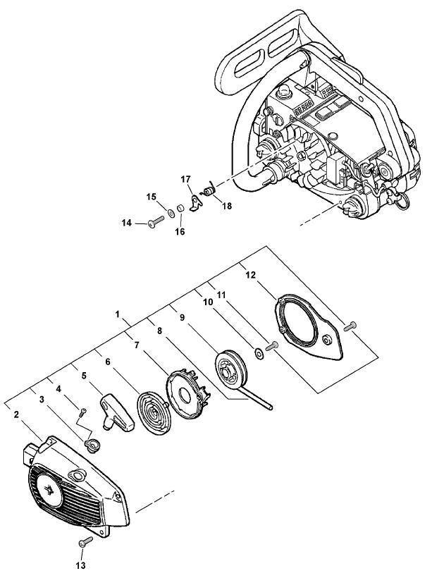 ECHO CS-341 Chainsaw Parts Diagram Serial Number 04001001