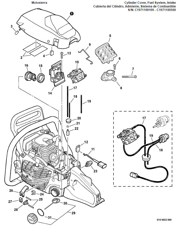 ECHO CS-352 Chainsaw Parts Diagram Serial Number