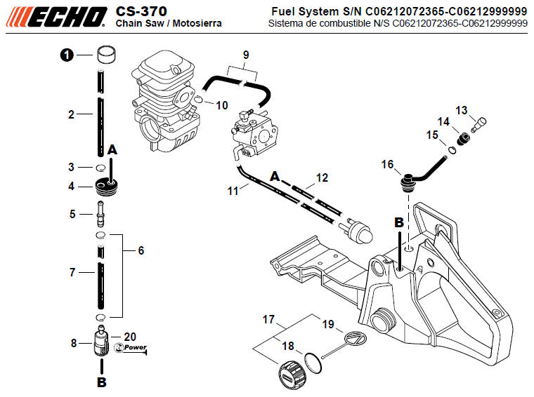 ECHO CS-370 Chainsaw Parts Diagram Serial Number