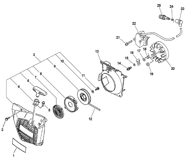 ECHO CS-510 Chainsaw Parts Diagram Serial Number 03001001