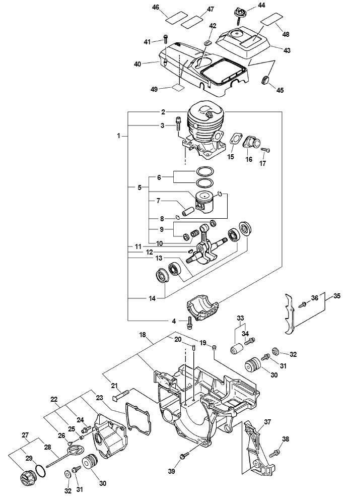 ECHO CS-510 Chainsaw Parts Diagram SN 04001001-04999999