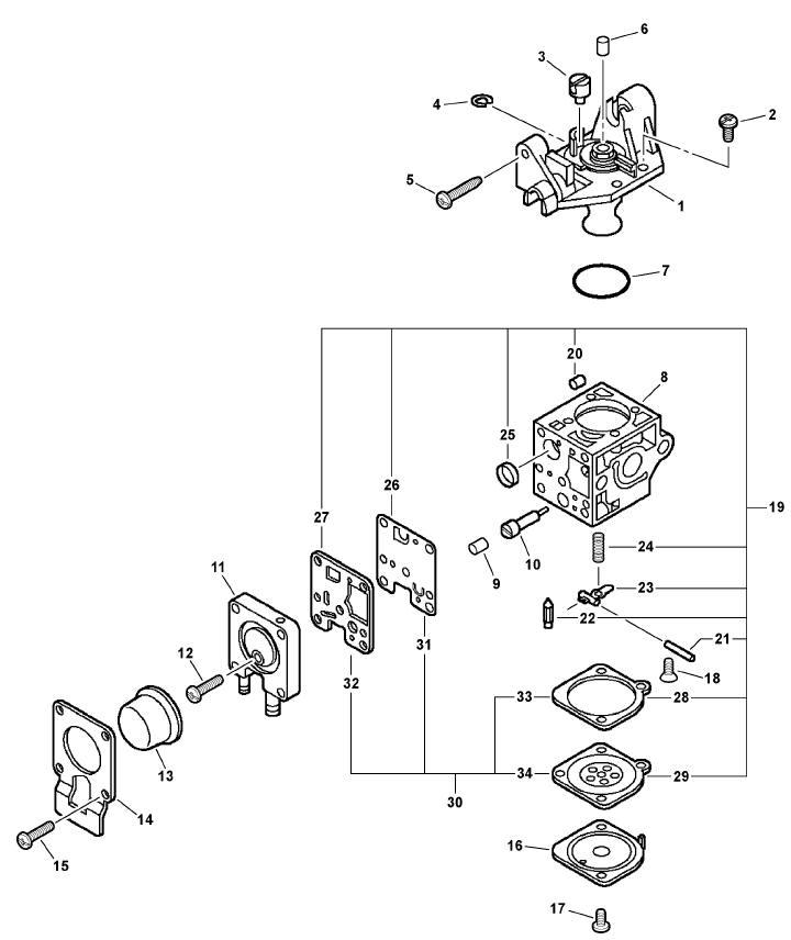 ECHO PB-265L Blower Parts Diagram Serial Number