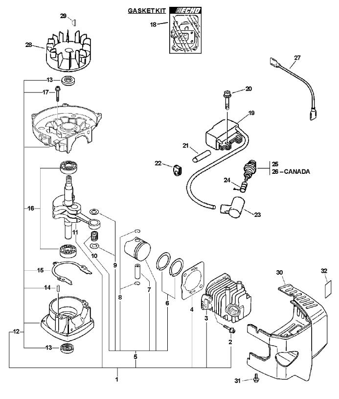 ECHO TC-210 Parts Diagram SN 05001001-05999999