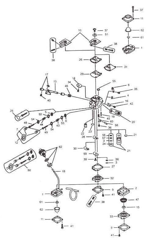 WALBRO WA-168-1 Carburetor Parts Diagram SN ALL
