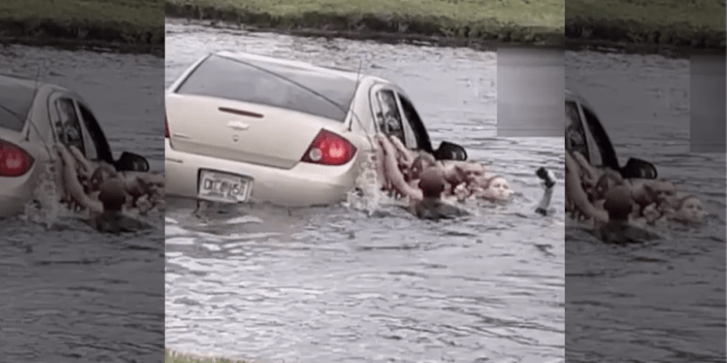 WATCH THIS: VIDEO: Fleeing suspect drives car into pond with children inside who cannot swim
