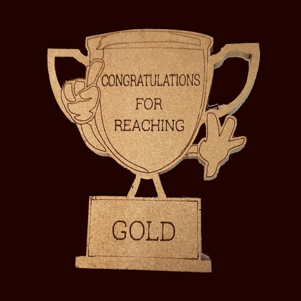 Reaching gold trophy