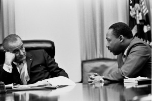 Dr. Martin Luther King, Jr. speaking with President Lyndon Johnson