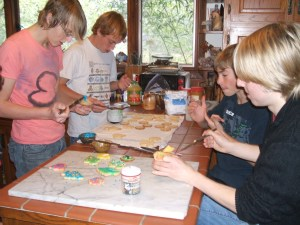 Family gathering and making holiday cookies