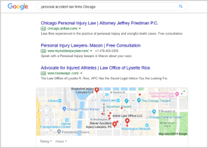 Google Ads personal accident law firms Chicago