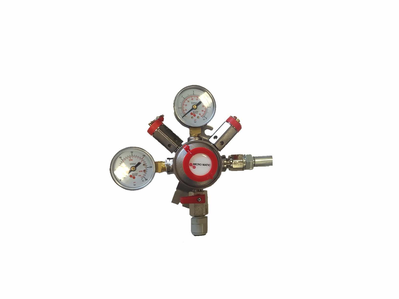 Mixed Gas Regulator, High Pressure, Wall Mounted