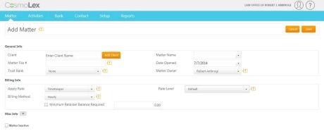 When you add a matter, you can set the billing method and rate.