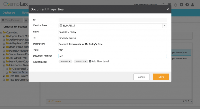 The document properties box lets you add labels and other information to a document.