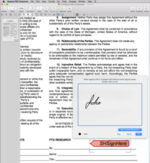 Sign documents using a mouse or Trackpad.