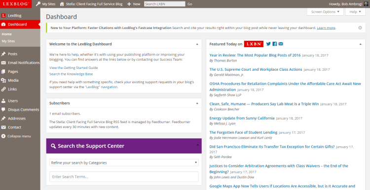 The dashboard of a demo site in LexBlog's new blogging platform.