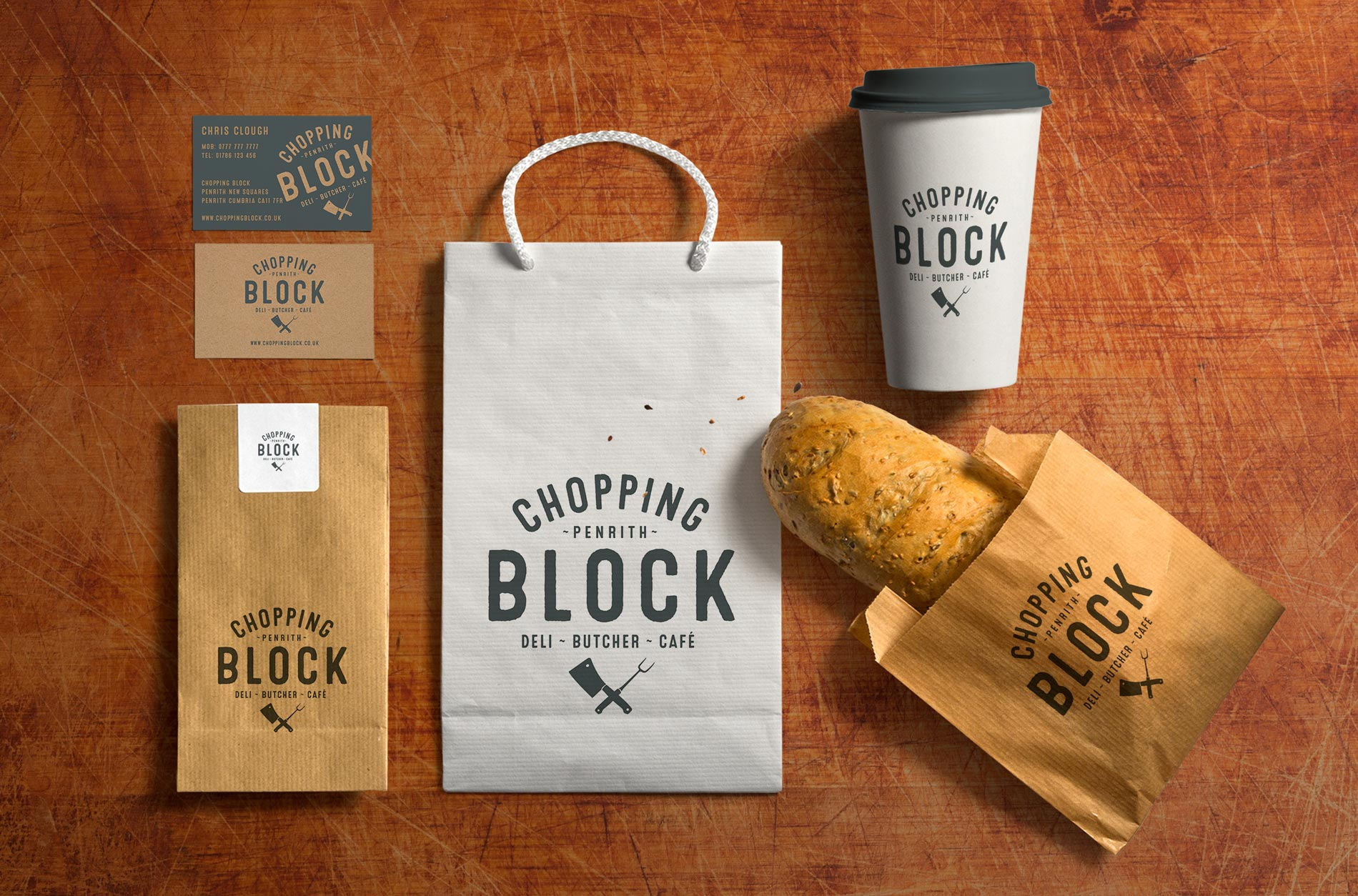The Chopping Block Butcher & Deli Logo Application Design