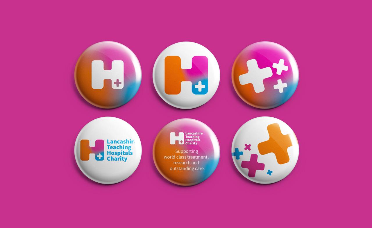 Lancashire Teaching Hospitals Charity Brand Identity button badge design
