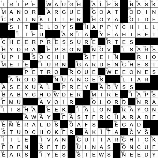 Webs La Times Crossword Solution & LA Times Crossword Answers 22 ...