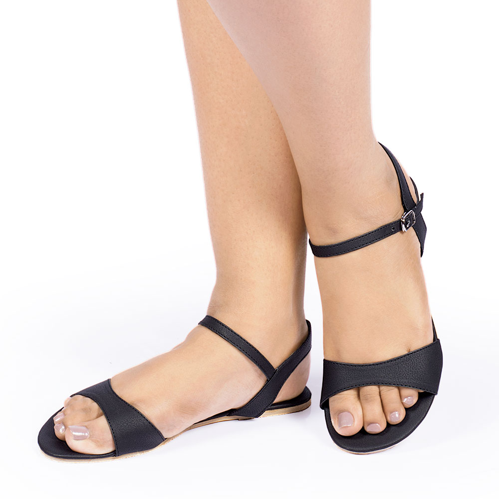 Laydeez Curvy Open Toe Sandal (Black)