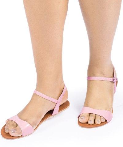 Laydeez Curvy Open Toe Sandals in Pink