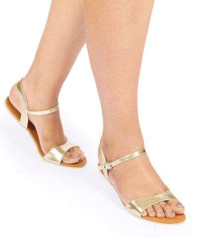 Laydeez Curvy Open Toe Sandal (Gold)