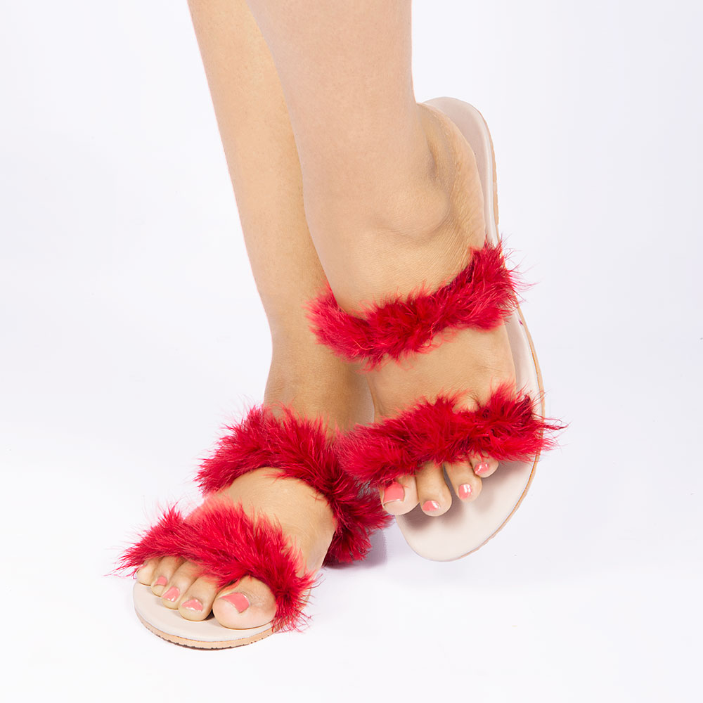 Laydeez Feather Strappy Slip-On in Red