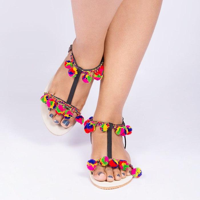 Laydeez Multicolored Pom Pom Sandal