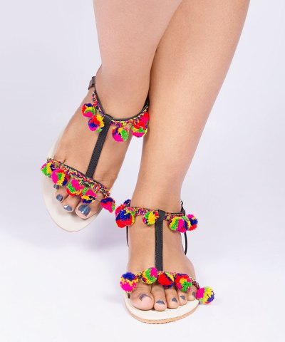 Laydeez Multicolored Pom-Pom Sandals