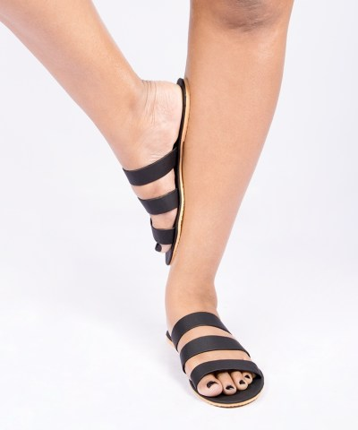 Laydeez Black Triple Strap Slides