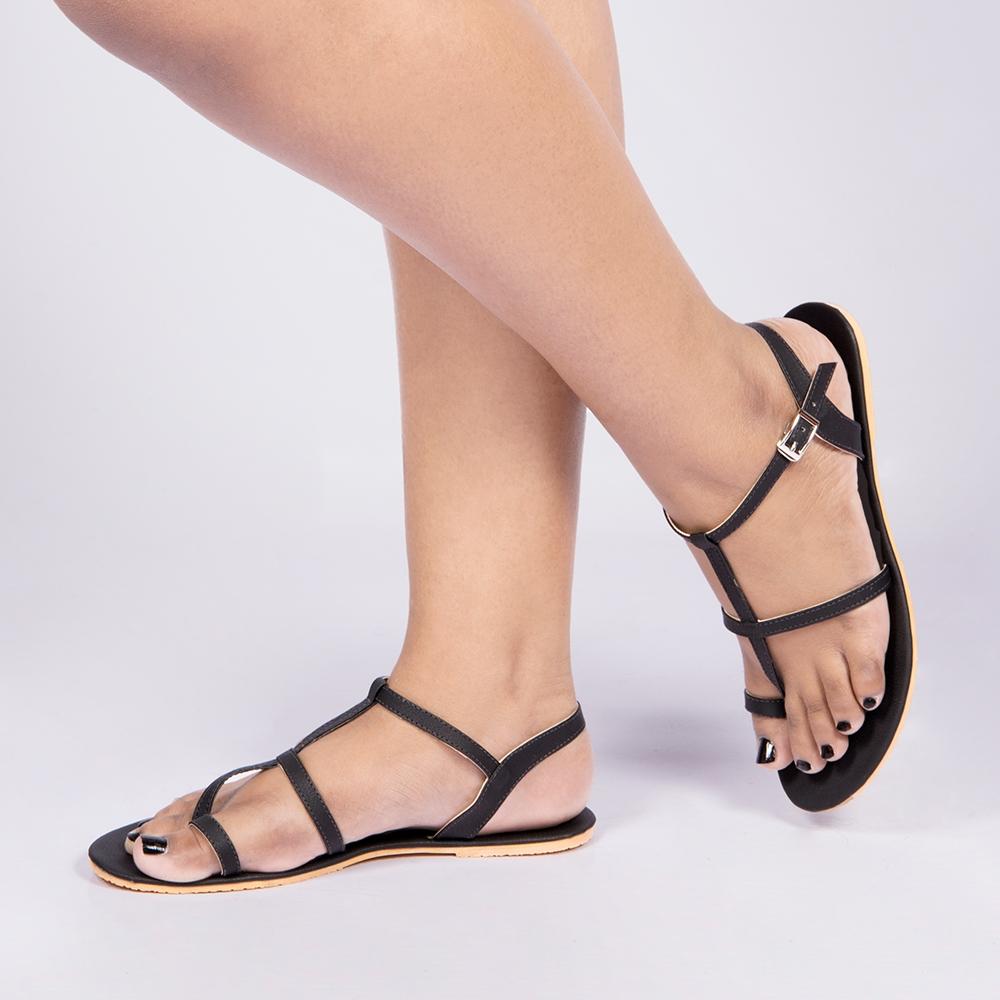 Laydeez Roman Gladiator Sandals In Black