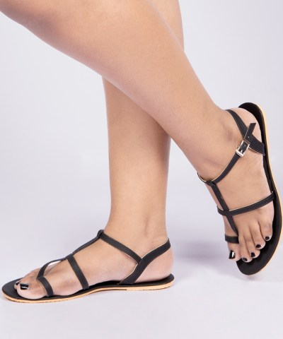 Laydeez Roman Gladiator Sandals In Black