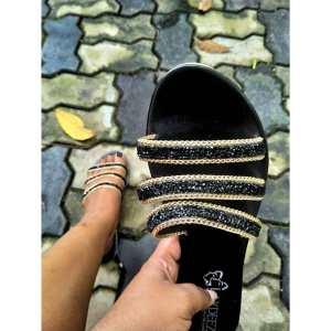 Stone Embellished Triple Straps Sandals