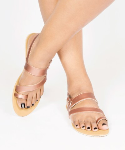 Laydeez Toe Ring Sandals in Rose Gold