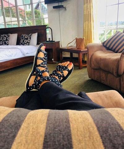 Laydeez Polka Dot Lace Up Sandals