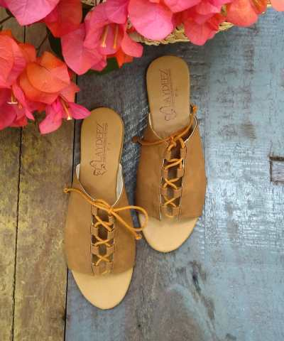 Laydeez Lace up slides in Tan