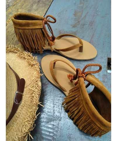 Laydeez Gypsy Tassel Sandals in Tan