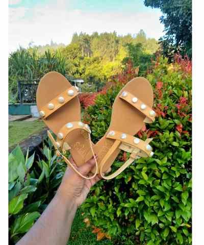 Laydeez Dual Pearl Straps Sandals