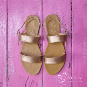 Laydeez Dual Strap Sandals in Rose Gold