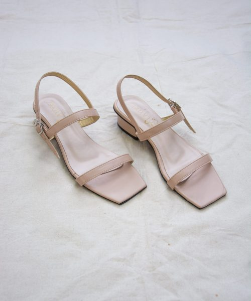 Laydeez - Square Toe Two Strap Low Blocks - Beige Color