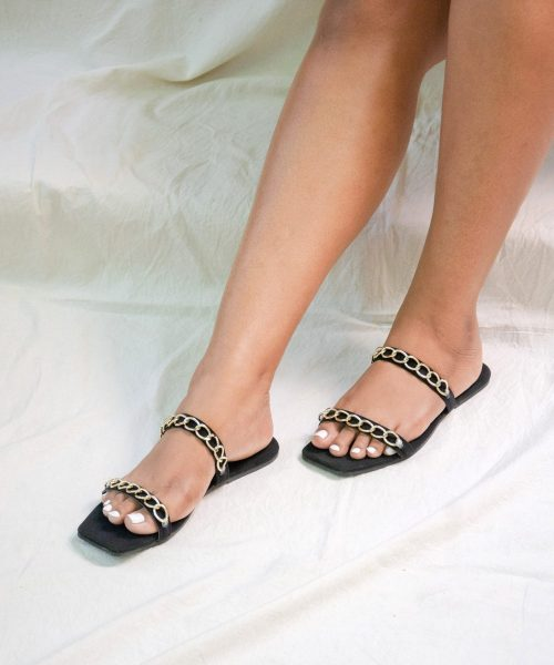 Laydeez Chained Dual Strap Sandals