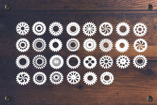 30 Rustic Vector Cogwheels by Layerform Design Co