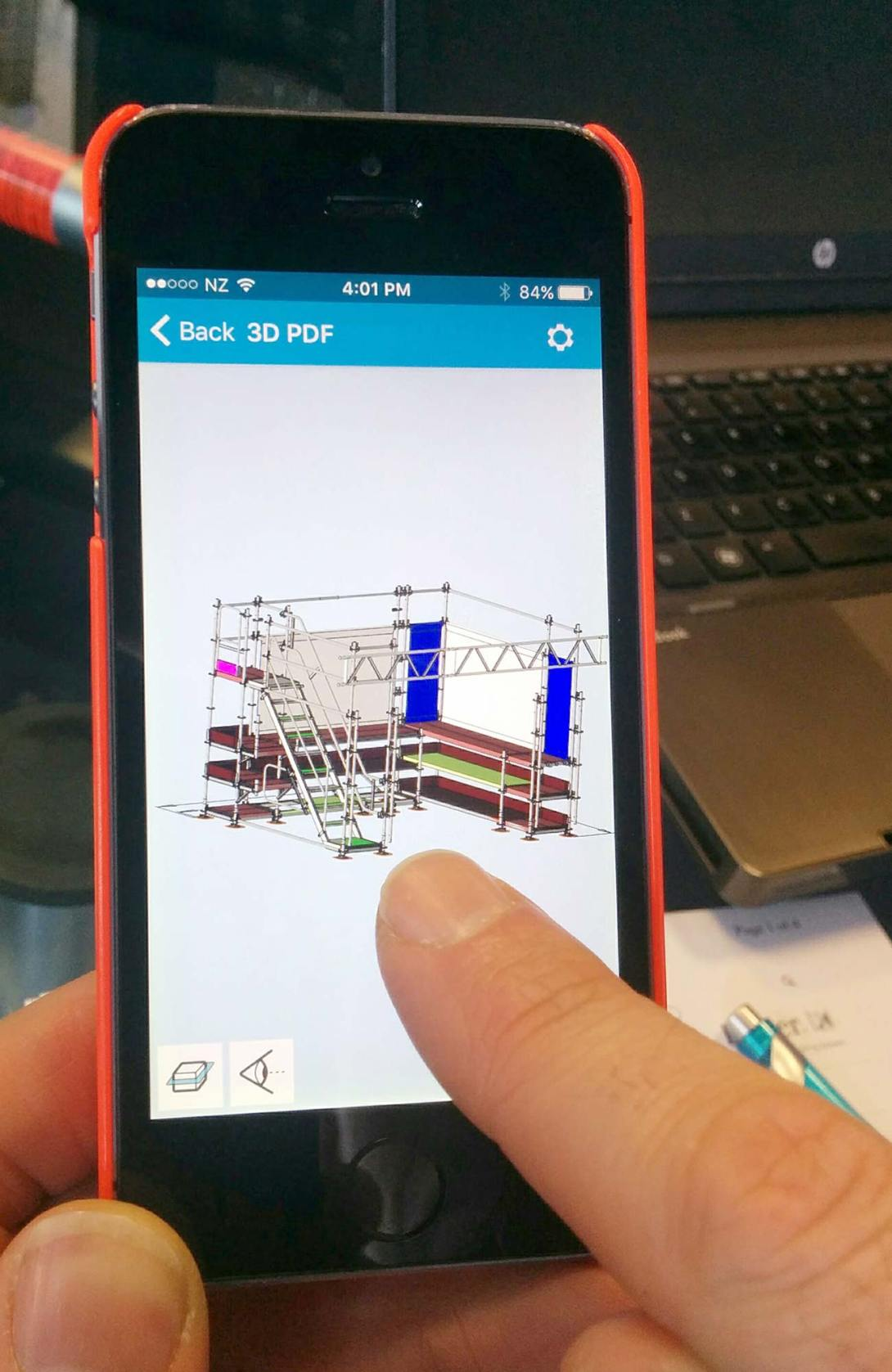 Review 3D scaffolding drawings on mobile devices