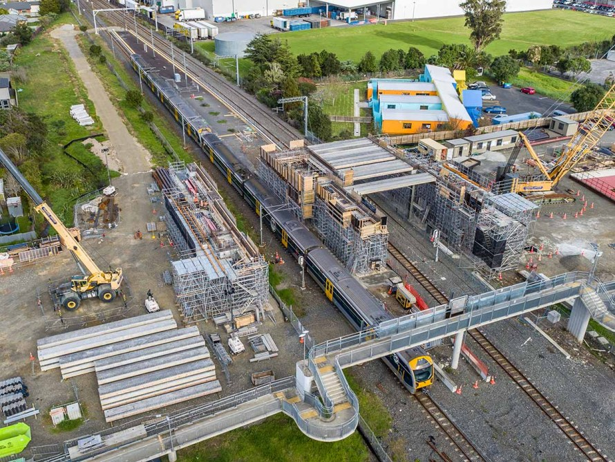 Auckland Transport railway station construction using Layher Allround Scaffolding